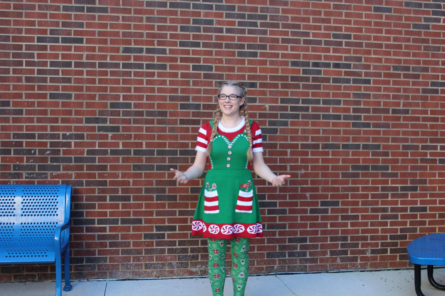 """Today, NC hosted their annual Tacky Sweater Day to spread holiday cheer all over the school. Students that wear silly sweaters receive a free cookie during lunch, as well as the pride of wearing their holiday spirit. """"Seeing everyone in holiday sweaters just make people feel happy!"""" senior Emily LaPierre said."""