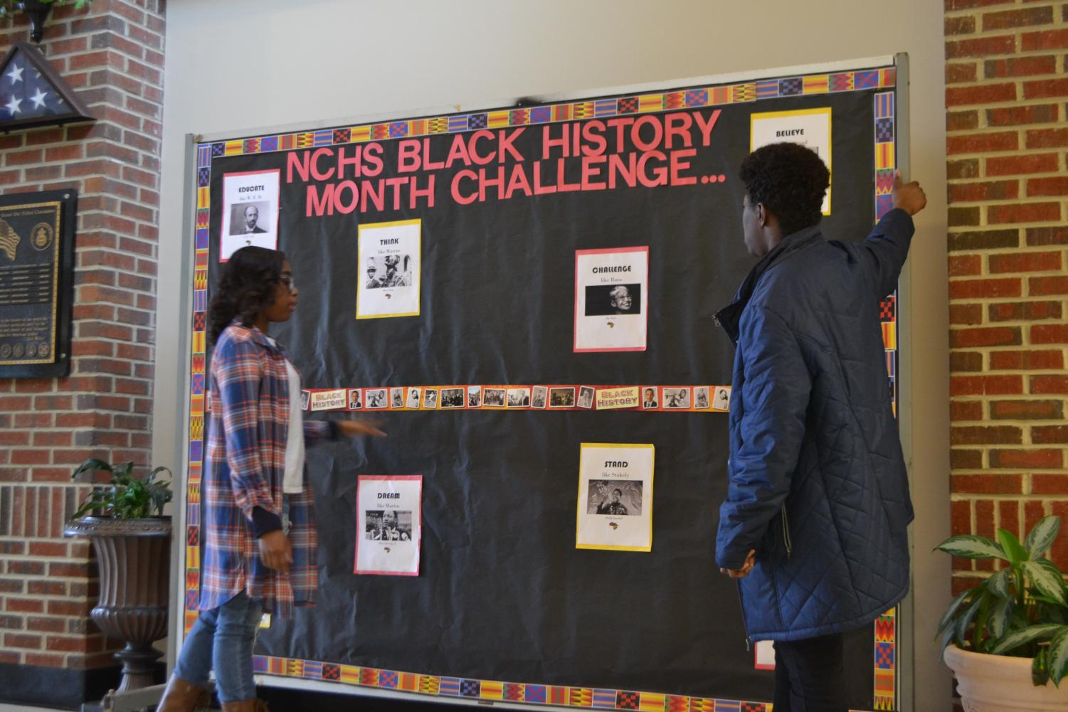 Black Student Union set up a board challenging students to engage and acknowledge Black History Month at NC. Students have the opportunity to shine with artistic and creative skills, representing any black leader in history to show off the month's meaning and significance. Writing a poem, a song, a video, or even dressing up as a meme, places a spot in the challenge. Tomahawk Today will feature the winning student.