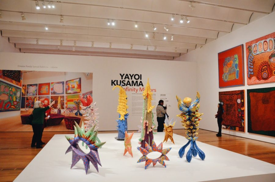 "Concluding its five-stop tour around art museums in North America, Yayoi Kusama's ""Infinity Mirrors"" exhibit ended at Atlanta's High Museum of Art on February 17, 2019. Stepping off the elevator and into the exhibit, visitors came face-to-face with an eye-catching sculpture garden of uniquely-shaped objects in front of multiple canvases of vibrant paintings. From start to finish, the sculptures and paintings left art-lovers inspired and in awe."