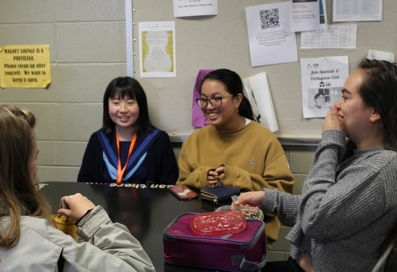"""NC's Japanese foreign exchange students arrived from Kochi, Japan yesterday and spent their Monday attending classes with their hosts. In the Magnet lounge, junior Isabel Daez introduced her foreign exchange student Nonoka Sakita to her lunch buddies juniors Ketzel Greve and Vicki Zitsch. They sat at their table laughing and chatting away, making sure that Sakita felt welcomed. """"She likes it here so far. Her favorite part so far was the Welcome Ceremony where she tried a Chick-Fil-A biscuit,"""" her host and translator Daez said."""