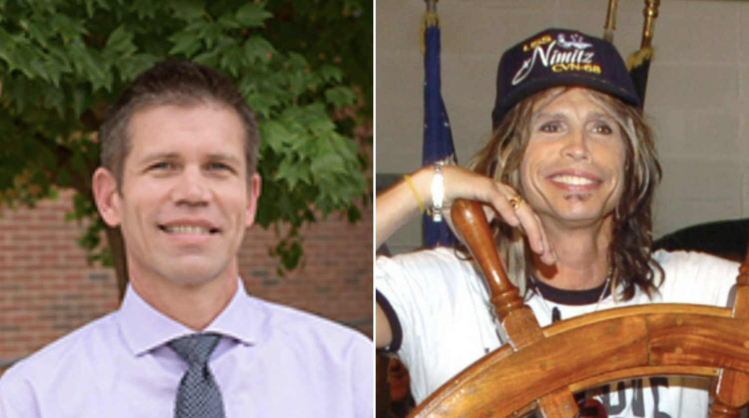 "Students and staff at NC long thought any resemblance between assistant principal David Stephenson and Aerosmith singer Steven Tyler merely coincidental. As time revealed, though, the real relationship proves anything but. Inspired by the experience, Tyler now plans to re-record his classic ""Dude (Looks Like a Lady)"" as ""Rock Star (Looks Like a Social Studies Teacher)."""