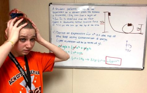 Senior Rachel Maxwell looks in horror upon one of the typical AP style questions in AP Physics 1, dealing with rotational motion. The problem requires students to look at the situation conceptually, and only deal with variables and not numbers. This skill takes practice and shows up on the AP exam quite often.