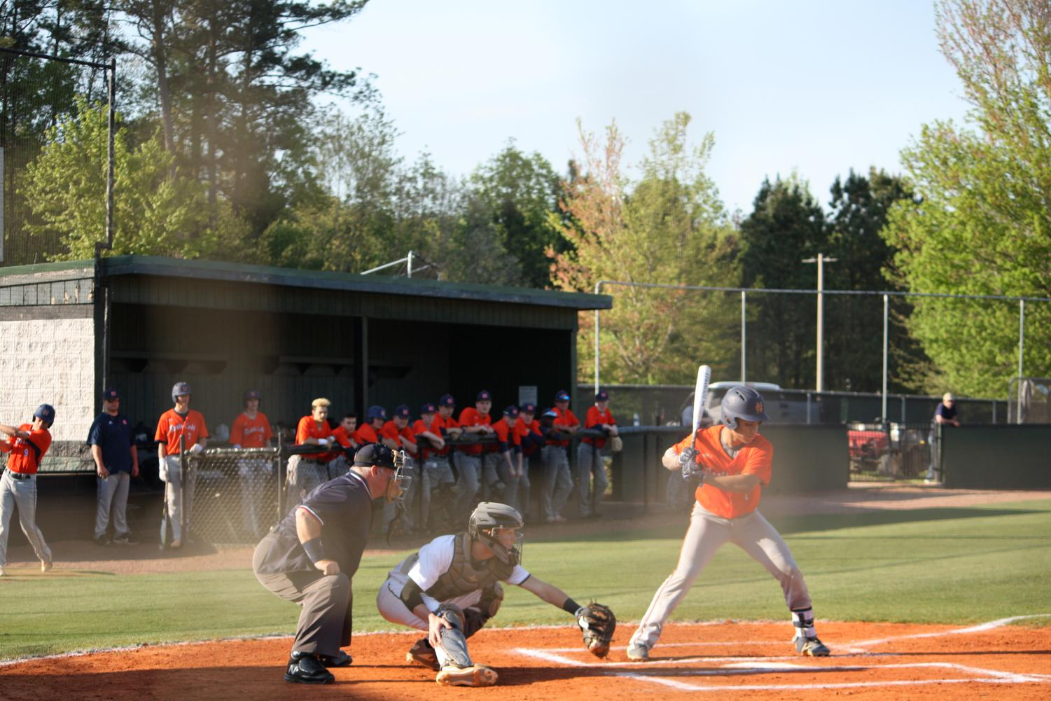 """The NC Warriors faced off against rival Kennesaw Mountain Mustangs the week of April 8, 2019. The rival teams played competitively and passionately, NC winning one of the three games and demonstrating a valiant fight in the others.  """"Kennesaw Mountain series is always hard-fought and emotional like a rivalry series should be,"""" Head Coach Tom Callahan said."""