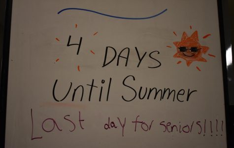 A sign outside Assistant Principal Stephenson's office lies undisturbed, displaying the days left in the school year; as shown, today marks the final day for seniors. The Class of 2019 celebrated their achievements with more than just a sign, though: the Senior Walk, held for the first time this year, saw the class walk across the halls cheered on by sophomores and juniors.