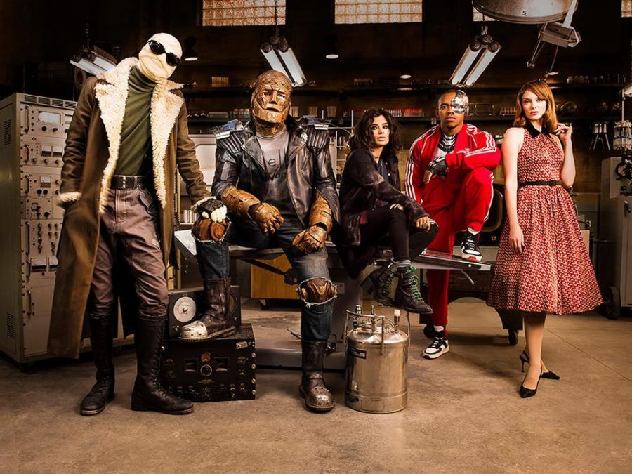 "The characters of Doom Patrol (left to right: Negative Man, Robotman, Crazy Jane, Cyborg, and Elasti-Girl ) appear in a promotional photo for the show. The Doom Patrol first appeared in 1963's My Greatest Adventure #80. Initially conceived as the ""World's Strangest Heroes"", the team comprised of outcasts not unlike Marvel's X-Men; the team reached their peak popularity when writer Grant Morrison (New X-Men, Batman, JLA) wrote for the team in 1989."