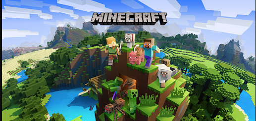 This title picture shows the amazing features Minecraft has to offer. It reveals the two default characters you begin your grand journey with, the amazing landscape in the background, spooky monsters creeping within caves, and the trusty dog you can claim as a pet, giving one an exciting adventure to look forward to.