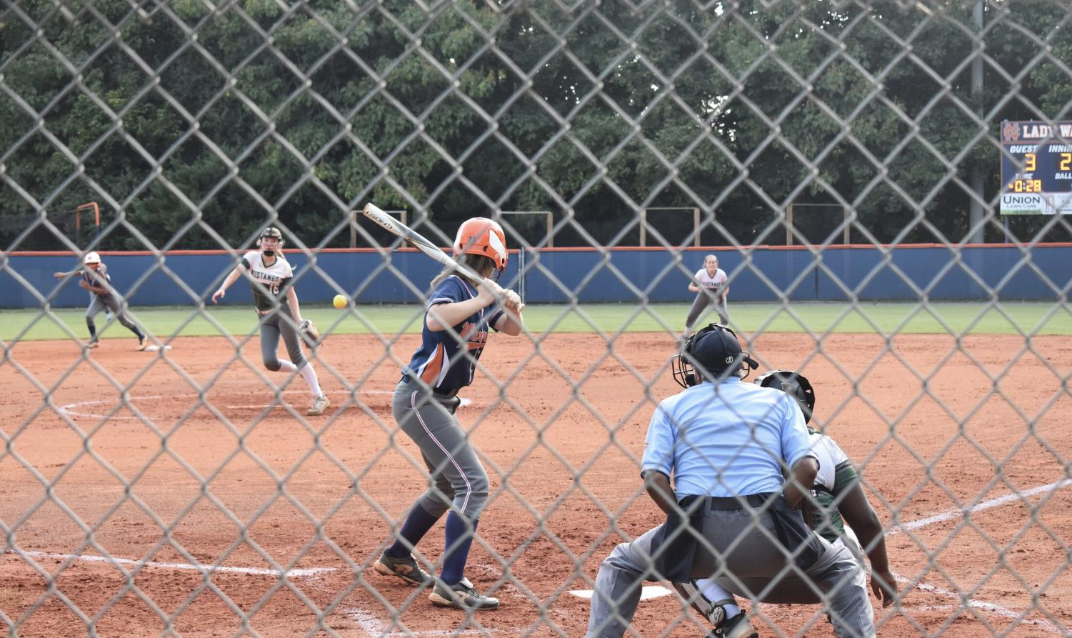 JV softball player, sophomore Abi Klinkert prepares to swing during the second inning. In their third game of the season, the JV Lady Warriors went up against the Kennesaw Mountain Mustangs.
