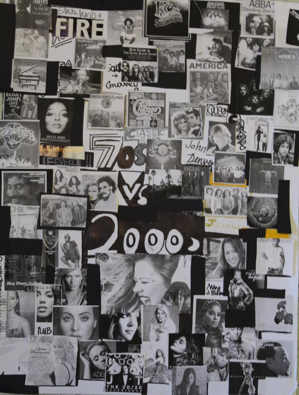 "This art piece focuses on the popular artists and bands in the 70s in comparison to the 21st century, the early 2000s mainly. The 70s-primarily disco, spoke to the generation with popular artists such as The Bee Gees singing the hit ""Stayin Alive,"" Gloria Gaynor singing ""I Will Survive"", Abba with their hit ""Dancing Queen"" and a plethora of others. These artists emulated the disco lifestyle. In addition to disco, Classic rock and pop groups like The Doobie Brothers, Queen with the classic ""Bohemian Rhapsody"", Toto with popular songs ""Hold the Line"" and ""Africa"", and other groups became the voices of the generation. Just as the 21st century, especially the early 2000s, relied on mainstream pop, R&B, and hip hop.  Artists like Alicia Keys singing ""If I Ain't Got You,"" Kelly Clarkson winning the inaugural season of American Idol with hits like ""What Doesn't Kill You Makes You Stronger"", Adele singing ""Someone Like You"" and others fed into the mainstream ruled generation."