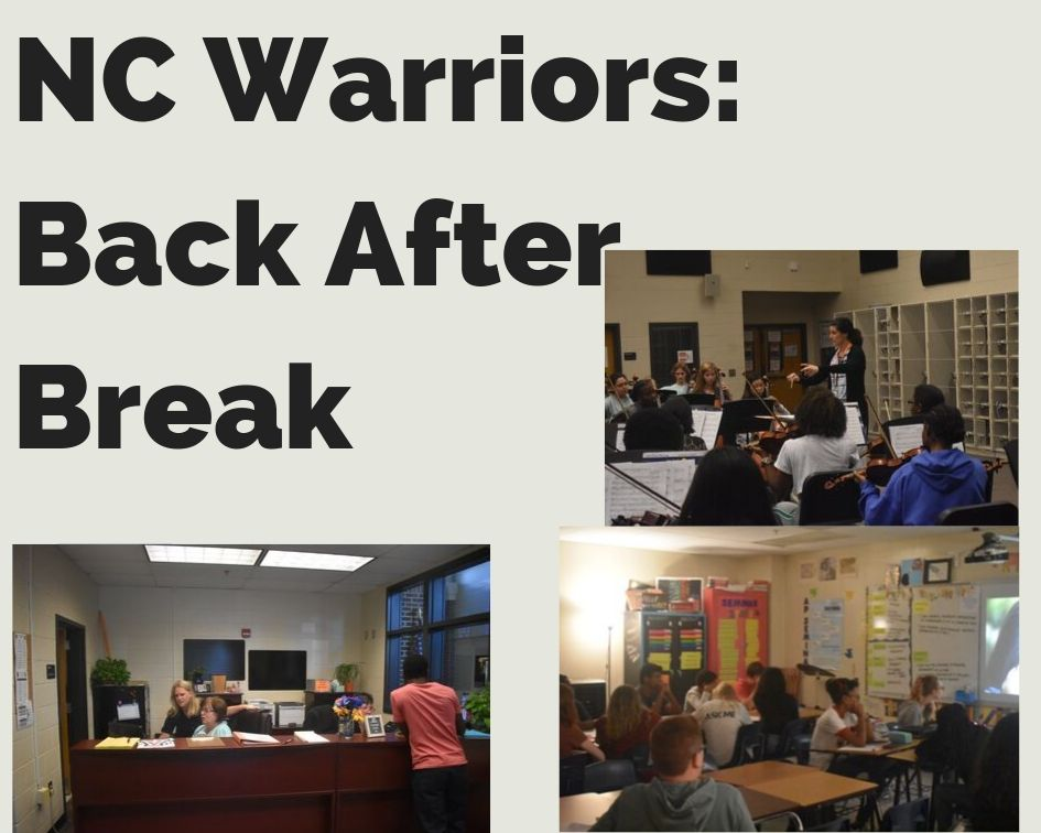 Those in Mrs. Krupiczewicz's Master Orchestra class, Mrs. Jenna Essenburg's AP Seminar class, and working in the counseling office (from left to right, in order) go about their daily business, seemingly unaffected by the recent break. The September break, which lasted from the 21 to 29, serves as the first major one in the year: students partake in a variety of activities during this time to unwind, chief among them the Georgia State Fair, which commenced this past Friday and October 6th.