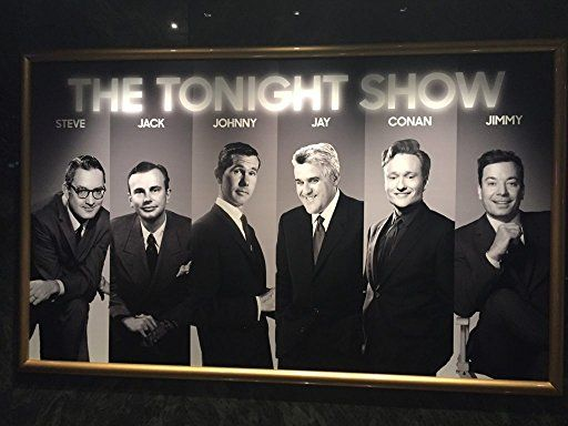 "All six principal hosts of The Tonight Show: Steve Allen (1954-1957), Jack Paar (1957-1962), Johnny Carson (1962-1992), Jay Leno (1992-2009, 2010-2014); Conan O'Brien (2009-2010) and current host Jimmy Fallon (2014-present). Each Principal host brought something new to the table, creating the shows continual evolution. Fun Fact:  In February of 2015, to celebrate current host Jimmy Fallon's new position, Ben and Jerry's ice cream came out with a new flavor of ice cream named the ""The Tonight Dough starring Jimmy Fallon."""