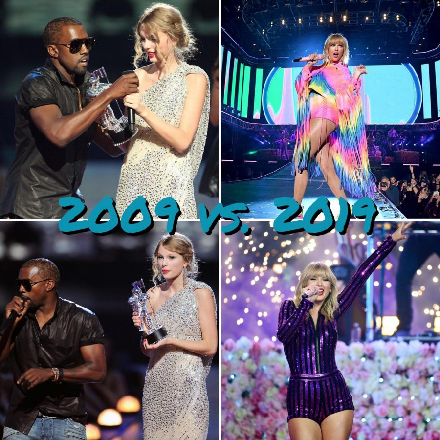 On+the+left%3A+Kanye+West+interrupts+Taylor+Swift%E2%80%99s+acceptance+speech+for+Best+Female+Video+at+the+2009+Video+Music+Awards.+West+received+backlash+and+criticism+from+various+public+figures+and+celebrities+for+the+incident%2C+including+Janet+Jackson%2C+Katy+Perry%2C+current+president+Donald+Trump%2C+as+well+as+the+president+at+the+time%2C+Barack+Obama.+West+allegedly+apologized+in+a+post+on+his+now-defunct+blog%2C+KanyeUniverseCity.com.+On+the+right%3A+Swift+performs+singles+%E2%80%9CYou+Need+to+Calm+Down%E2%80%9D+and+%E2%80%9CLover%E2%80%9D+from+her+new+album+at+the+2019+VMAs.+