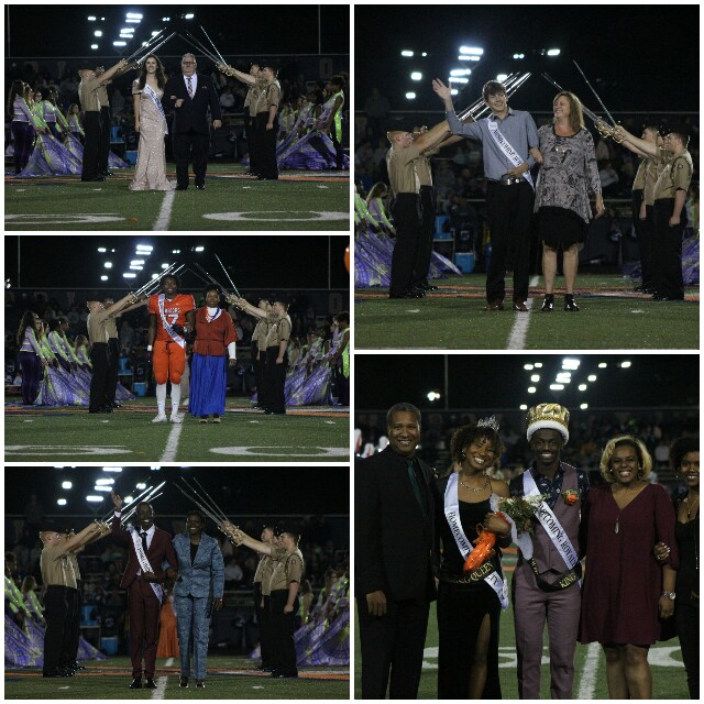 The members of the 2019 senior Homecoming court walked the field this past Friday during the halftime portion of the Homecoming game against North Paulding. Court members, clockwise from the top left: Cat Kulat, Trevor Bacak, Sydney Thomas and Josh Dixon (who eventually won the title of Homecoming Queen and King, respectively), Baldwin Ndongo, and Grant Wooten.