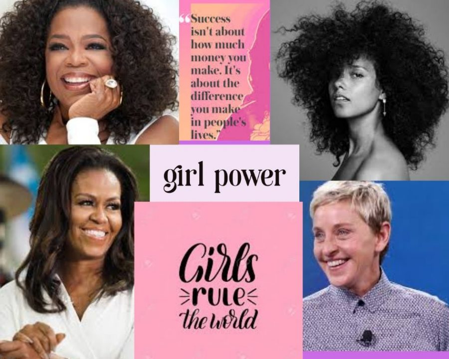 As female empowerment pervades today's society, the prominence of female activists and role models remains elemental in advancing women's rights. Four popular examples include (clockwise from bottom left) former first lady Michelle Obama (also quoted here), TV personality Oprah Winfrey, singer/ songwriter/pianist Alicia Keys and comedian Ellen DeGeneres. These brave, hardworking and outstanding women show girls everywhere that humble beginnings, practice and spreading kindness can produce successful adults with meaningful careers.
