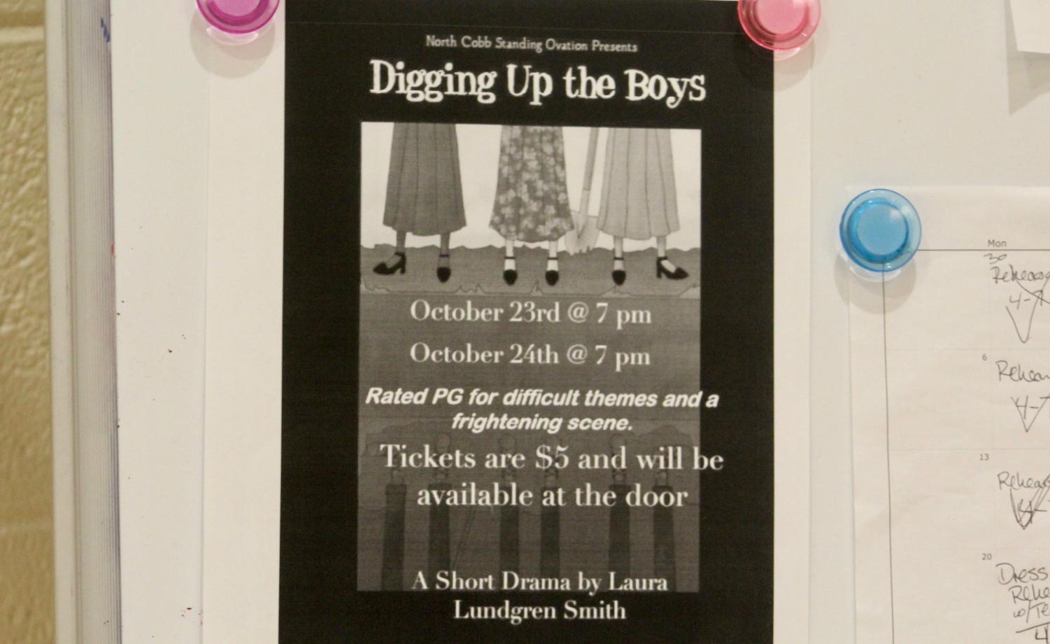 The NC Standing Ovation hosts their One Act show, Digging Up the Boys. One can find the $5 tickets available at the door of the PAC at 7pm today. Dig up some of the boys and enjoy NC's talented cast and crew while they reenact a short drama by Laura Lundren Smith.