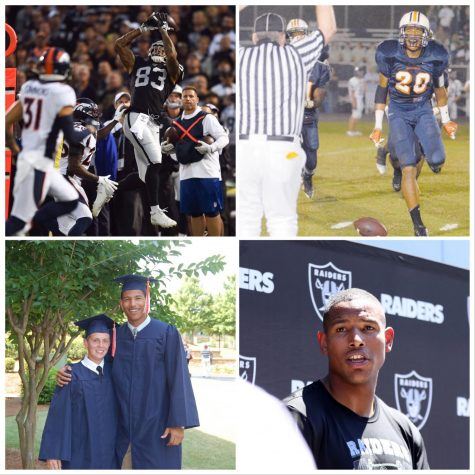"Darren Waller, former NC student-athlete, graduated with an athletic scholarship to Georgia Tech, eventually being drafted by the Baltimore Ravens into the NFL. clockwise from top right: playing in a playoff game in Emory Sewell Stadium, Waller approaches the bright lights of the NFL stage playing for the Oakland Raiders,  at graduation alongside Evan Stack, another NC alum, and now regularly playing with the Raiders.  Waller credits much of his preparation to his time at NC. ""I play a lot of Madden NFL 20, and I'm really excited to use Darren Waller on the Raiders. It's super cool that he played here at North Cobb and made it big in the NFL,"" junior Brendan Koch said."