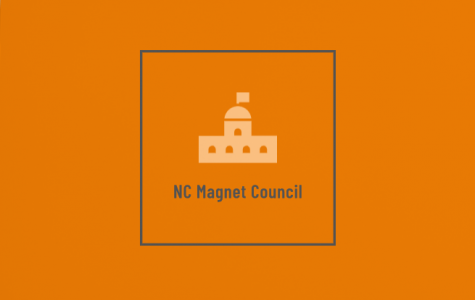 A logo for the Magnet Council, created by NC senior Ashu Ebot-Tabi. The council, first founded under the leadership of former Magnet advisor David Stephenson, consists of over 30 elected Magnet students chosen by current advisor and former AP Human Geography teacher James Auld; they meet the last third Monday of every month from 7:45 to 8:10 in the Magnet Lounge.