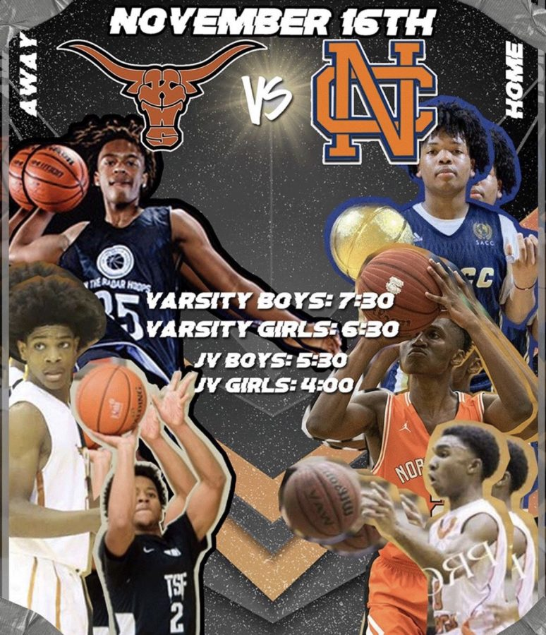 "The 2019-2020 Warrior Varsity basketball team faces off against the top 5A state-ranked Kell Longhorns, building plenty of hype surrounding the basketball season. Pictured with players from both teams, this annual matchup featured top-ranked Kell guard Scoota Henderson and former NC guard Jaylen Harris, who later transferred to Kell, battling it out with NC's prosperous team. ""Now that football season is over, I am excited for basketball season. They are going to have a great year,"" sophomore soccer player Kenna Armitage said."