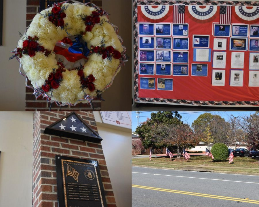 A variety of military-based decorations across NC; from left to right, clockwise: a military wreath of flowers, a board showcasing the names and ranks of servicemen related to NC staff, a folded flag and plaque honoring those who gave up their lives in the service of the nation, and a row of flags planted in front of the school. This Veterans Day, NJROTC members presented their colors for all to see, carrying on this decades long tradition.