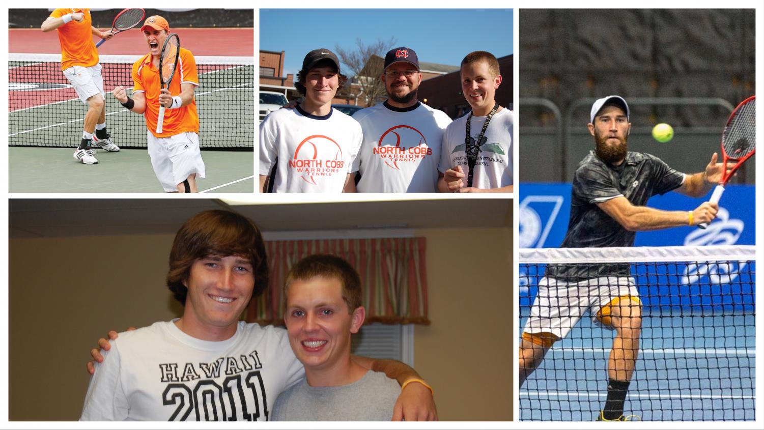 "Hunter Reese, former NC alum and Varsity tennis player, sincerely praises his alma mater for preparing him for life. Reese, pictured with former head tennis coach Bryan Minish and NC teammate Evan Stack (Top middle and bottom left), later played at the University of Tennessee, breaking multiple records (Top left). After playing in the main draw of the U.S. Open, Reese traveled worldwide on the ATP circuit. ""I've traveled all over the world; to almost every country in Europe, many places throughout Asia, spent time in Africa, the Caribbean, everywhere in the US and North America. I try to really stay focused on how fortunate I've been to be able to lead the life that I live,"" Reese said."