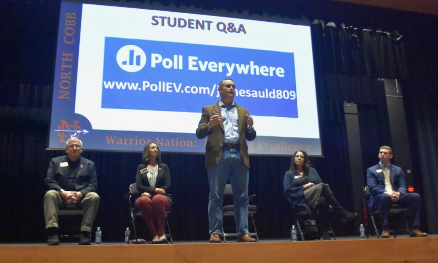Georgia House Representative Ed Setzler spoke about his role in the local government and important issues concerning students in the Performing Arts Center at NC during a town hall meeting on November 1.  Set up by seniors Noemi Carillo and Chandler Quaile and moderated by Magnet Program Coordinator James Auld, all second period government classes spent that period and SPEAR in the hour-long meeting,  listening to Setzler and other Georgia representatives, including Randy Scamihorn, Keli Gambrill, Ginny Ehrhart, and field representative for Barry Loudermilk, William Anderson.