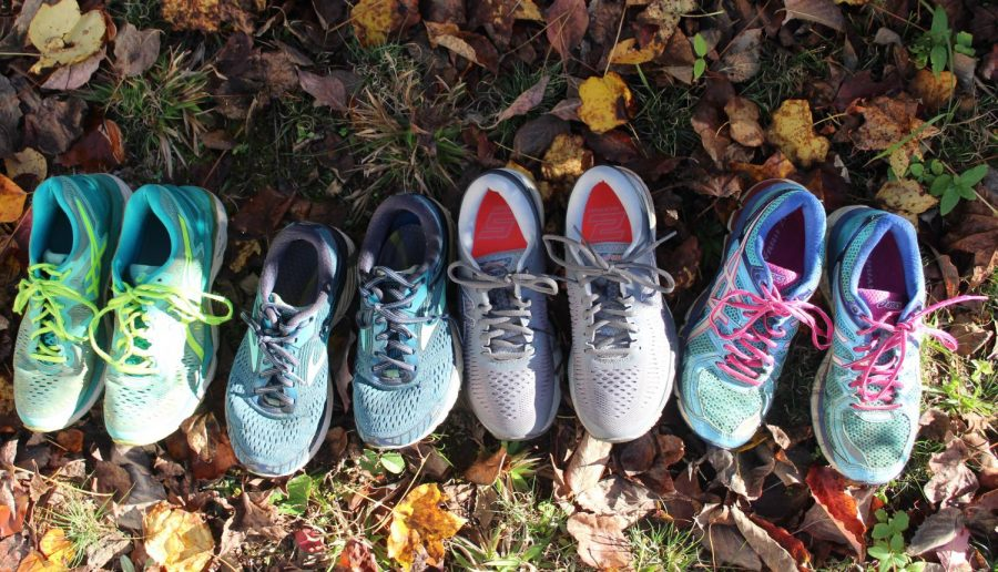 Each pair of running shoes gathered here will eventually travel about three hundred miles before being replaced, providing thousands of hours of healthy exercise. Running purely for physical benefit doesn't provide the only reason someone might want to put on their running shoes, however. An increasing amount of studies show that exercise provides several mental benefits as well.