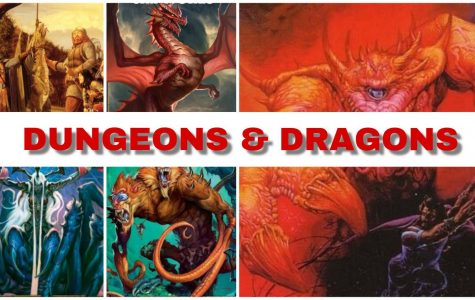 A collection of various covers from Dungeons and Dragons novels and rulebooks demonstrates how players use the game for many purposes, including escaping the real world, exercising their creative muscles, bonding with their friends and just having fun. Dice, books, and miniatures cover the table as tools to act out their fantasies.