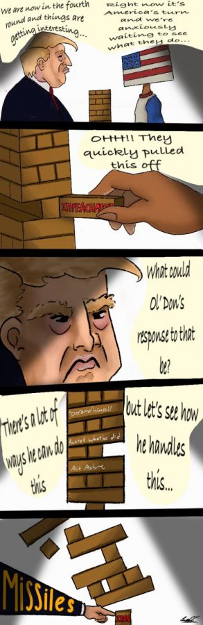 "After President Donald Trump made the executive decision to drop airstrikes in Baghdad that killed Iran's top general, Qasem Soleimani, Americans started to speculate that Trump intended to start a conflict with Iran in order to distract Americans from his impeachment trials. ""I used the game Jenga as inspiration for this political cartoon. The tower is supposed to represent the country's stability and that's why the American character carefully makes a move to bring impeachment into the picture. When Trump sees this he gets angry and decides to ruin the game by taking 'revenge' and taking out a block that would make the tower come crashing down,"" NC Chant cartoonist Luis Ponce said."