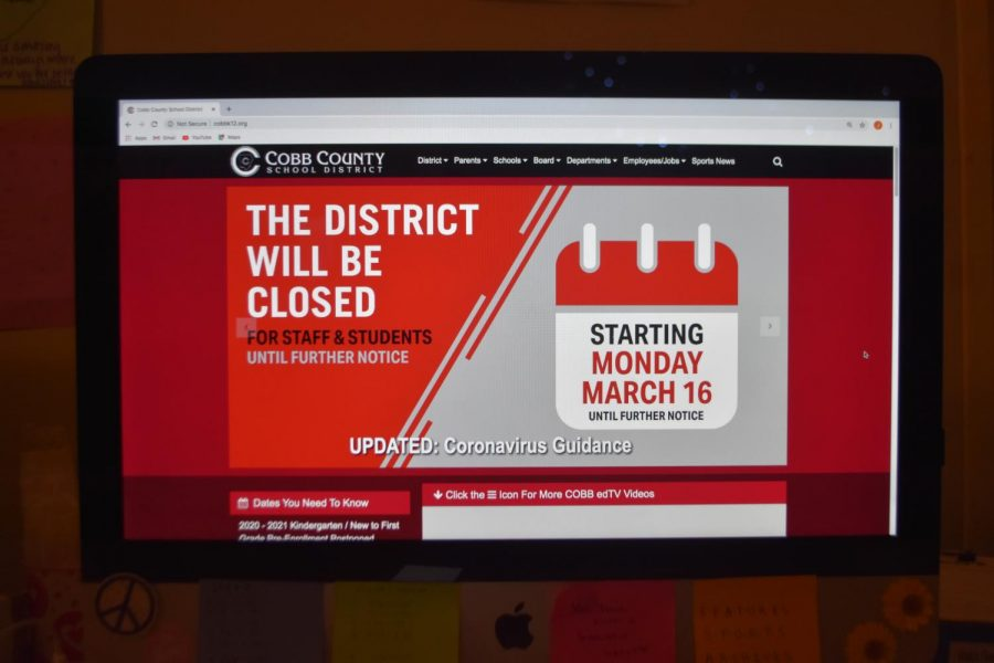 The+Cobb+County+School+District+released+a+statement+regarding+the+closure+of+all+Cobb+County+School+buildings.+Students+and+teachers+quickly+prepared+how+they+will+manage+to+continue+their+lesson+plans+and+how+they+will+communicate+while+at+home.