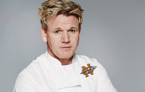 "With his brand new logo on his shirt from his latest endeavor, Gordon Ramsay feels excited to whip the NC culinary students into master chefs. ""I will not rest until each student cries over their baked chicken parmesan. Perfection is the only thing acceptable in my kitchen,"" Ramsay said."