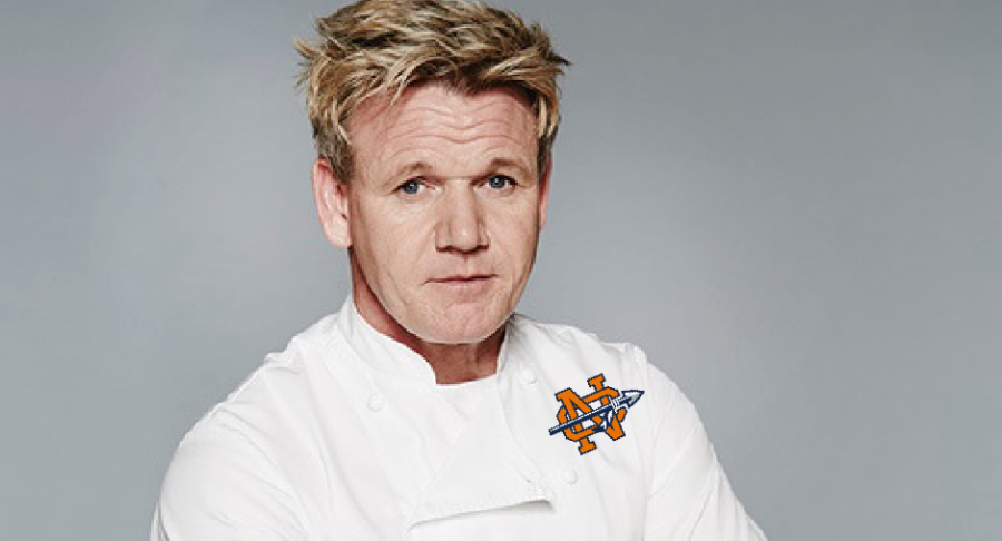 """With his brand new logo on his shirt from his latest endeavor, Gordon Ramsay feels excited to whip the NC culinary students into master chefs. """"I will not rest until each student cries over their baked chicken parmesan. Perfection is the only thing acceptable in my kitchen,"""" Ramsay said."""