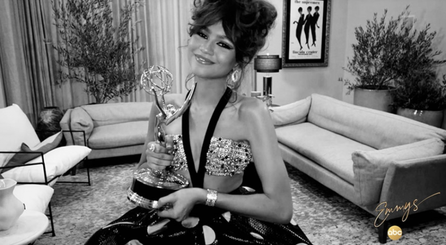 Zendaya+proudly+holds+the+Emmy+Award+for+Outstanding+Leading+Actress+in+a+Drama+Series+during+the+2020+Emmys.+This+was+the+first+Emmy+Award+the+artist+has+won%2C+while+also+being+the+youngest+actress+to+ever+receive+such+an+award.+Zendaya+made+history+with+this+outstanding+achievement+and+continues+to+do+so+throughout+her+career.+%0A%0A%0A