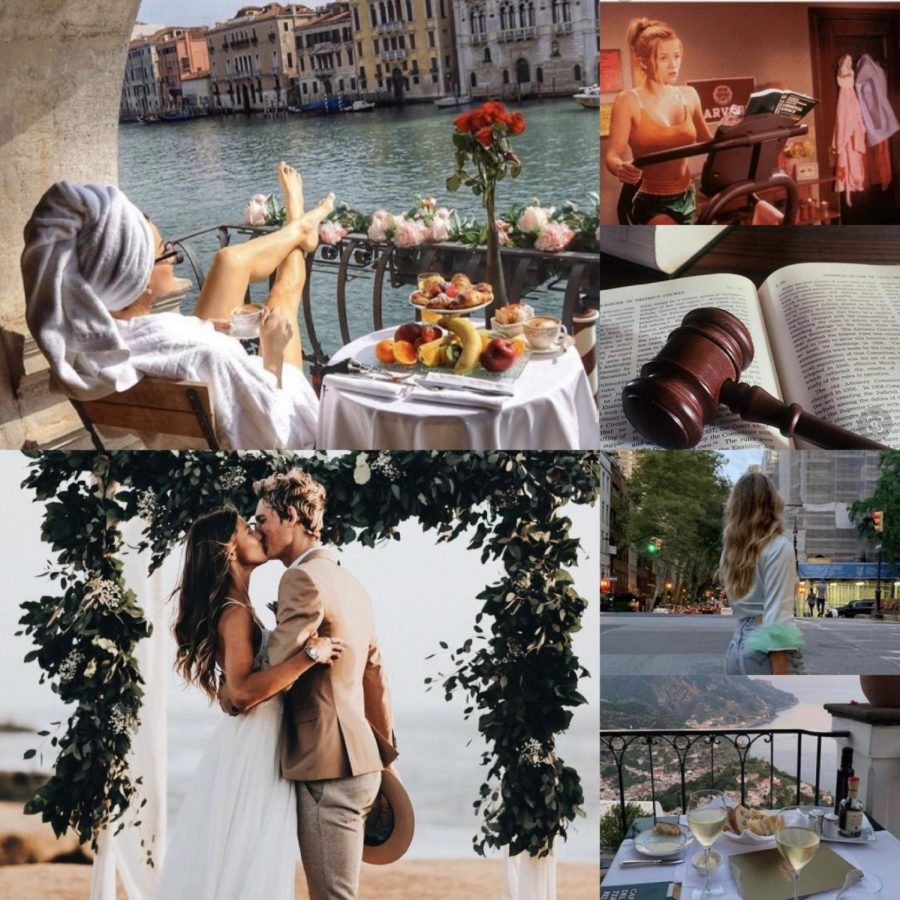Vision boards, a simple way to visualize a future that one would like to attract, all too often can become very materialistic. In this example, a career, relationship, and travel have been manifested. Long-term goals, along with a positive mantra, make manifesting become more realistic and attainable.