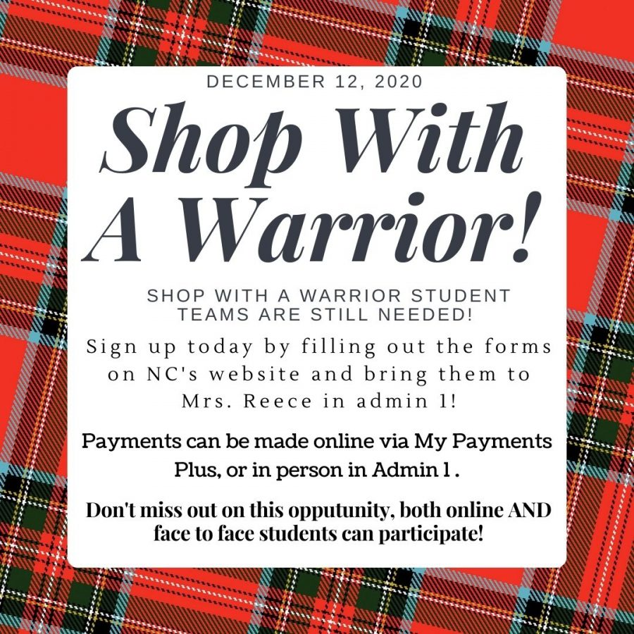 Shop With A Warrior constitutes an ancient tradition that holds a special place in the hearts of NC's community. This year, SWAW will look different with smaller teams and COVID-19 regulations. NC still needs SWAW student volunteers, sign up and pay today in Admin 1 to take place in this memorable event and foster change within your community.