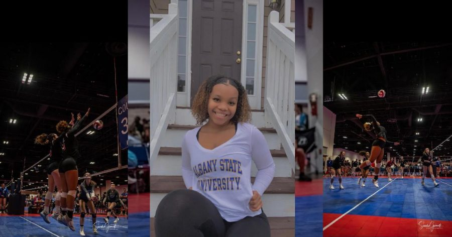 "Through her scholarship, Kayla Johnson received the opportunity to support her college education with the sport she loves. ""I love the intensity especially when you hype up your teammates and get energy from the crowd. [My] plans for the future include going to college and majoring in business and hopefully starting my own,"" Johnson said."