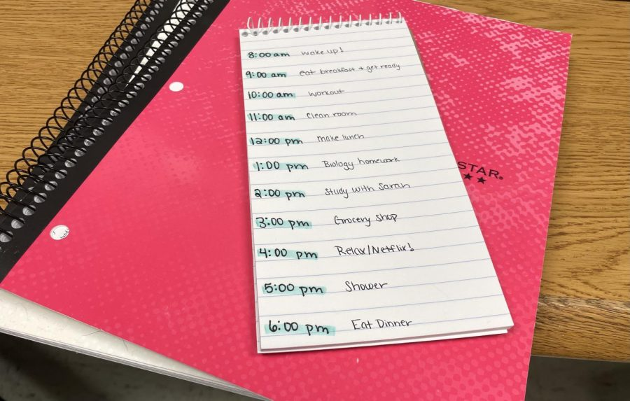 "Writing down a couple of the tasks that you want completed today provides a guideline for the day that lies ahead. Checking off these tasks boosts productivity and will allow for even more productive days in the future. ""Even if I just make a to-do list, it makes me feel in control of what I need to have done for school,"" said Magnet senior Sophia Green."