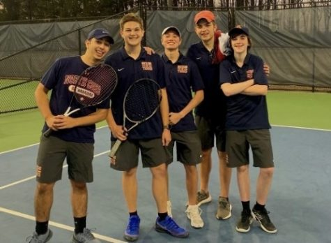 The NC varsity boys tennis team secured a 3-2 victory over region rival North Paulding High school.  The deciding one doubles match came down to Lorenzo Alarcon and Grayson Hines, who kept the audience on their toes with split sets and tie breaker for the third set. NC earns their third win of the season and improves to a 1-0 region record. (Pictured left to right) Lorenzo Alarcon, Grayson Hines, Ryan Tuchmann, Peyton Stack, and Tyler Goldfine celebrated at Acworth's Poblanos following the victory.