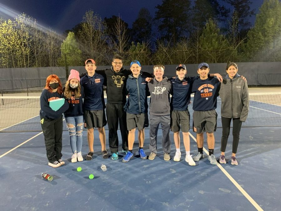 The+NC+Warrior+varsity+tennis+team+defeated+the+Campbell+Spartans+Thursday+afternoon+and+secured+their+spot+in+the+second+round+of+the+GHSA+state+tournament.+The+team+of+7+boys+eagerly+awaits+to+compete+in+the+second+round+of+state+later+this+week.+%E2%80%9CCampbell+is+respectably+a+tough+opponent%2C+but+I+always+see+my+team+getting+better+and+better%2C+I+am+so+grateful+to+be+a+part+of+this+team%2C%E2%80%9D+Alarcon+said.