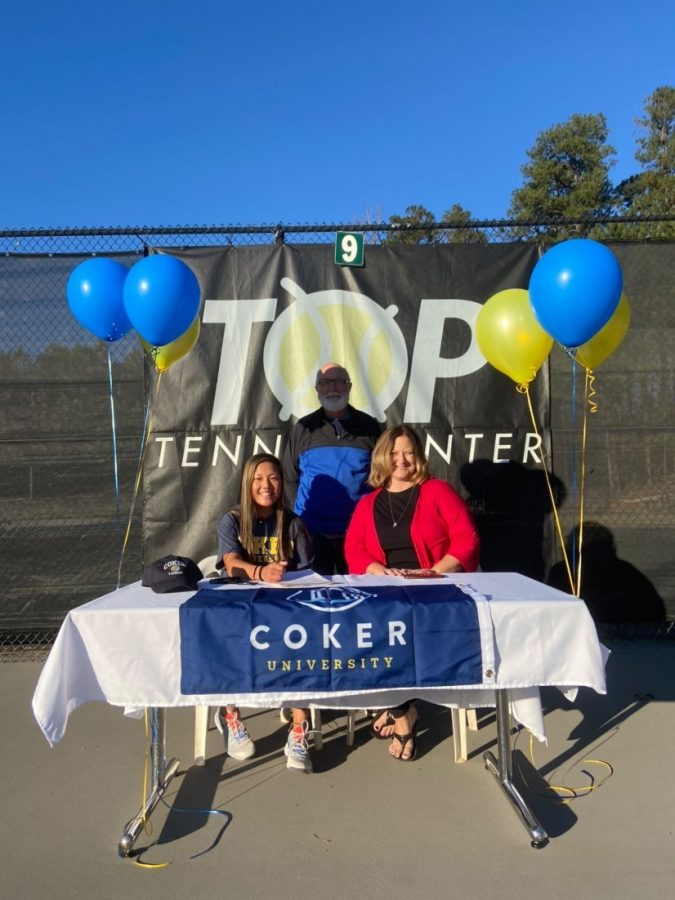 This+year%2C+Coker+University+gained+a+star+student+and+tennis+player.+NC+senior+Olivia+Drake+decided+to+attend+the+college+where+she+will+play+D2+tennis+on+a+women%E2%80%99s+tennis+scholarship.+She+also+plans+on+studying+physical+education.+